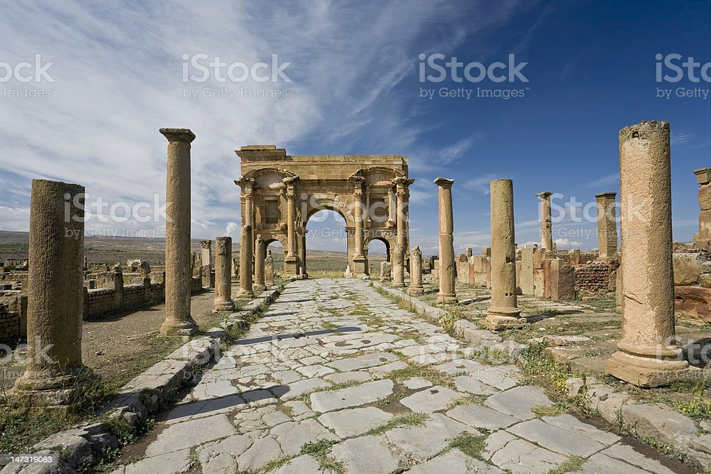 Decumanus street in Timgad royalty-free stock photo