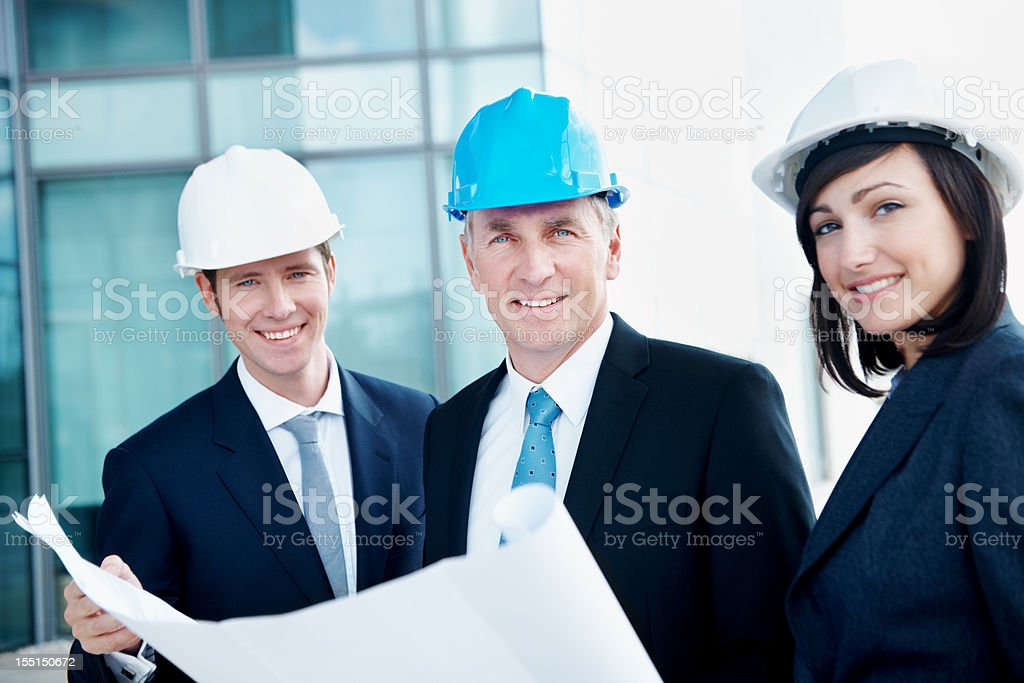 Dedicated construction engineers royalty-free stock photo