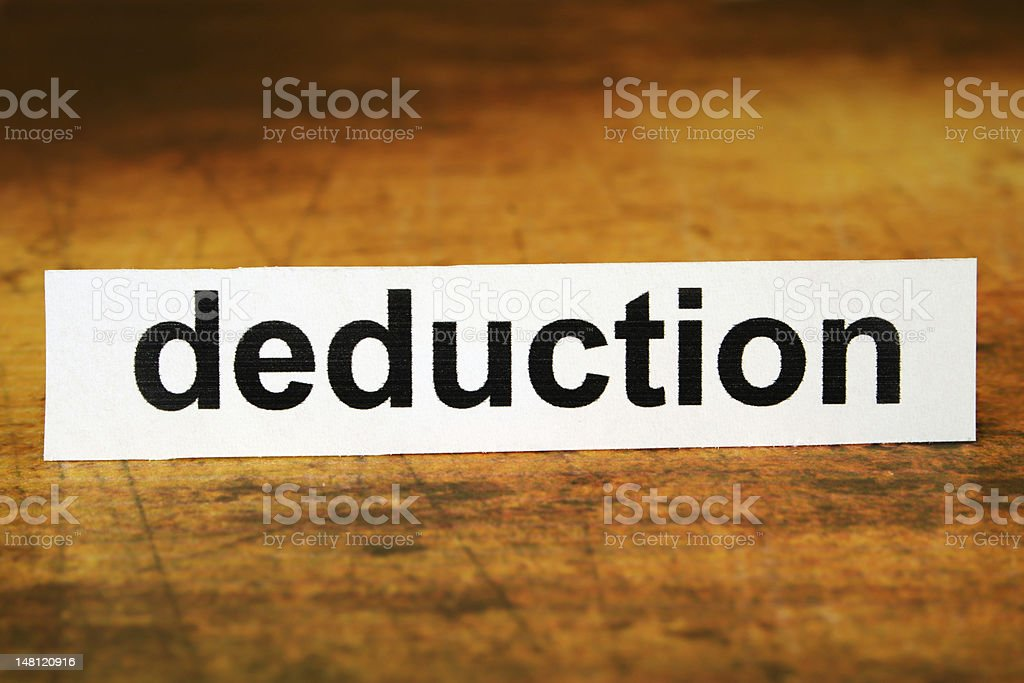 Deduction label resting upright royalty-free stock photo