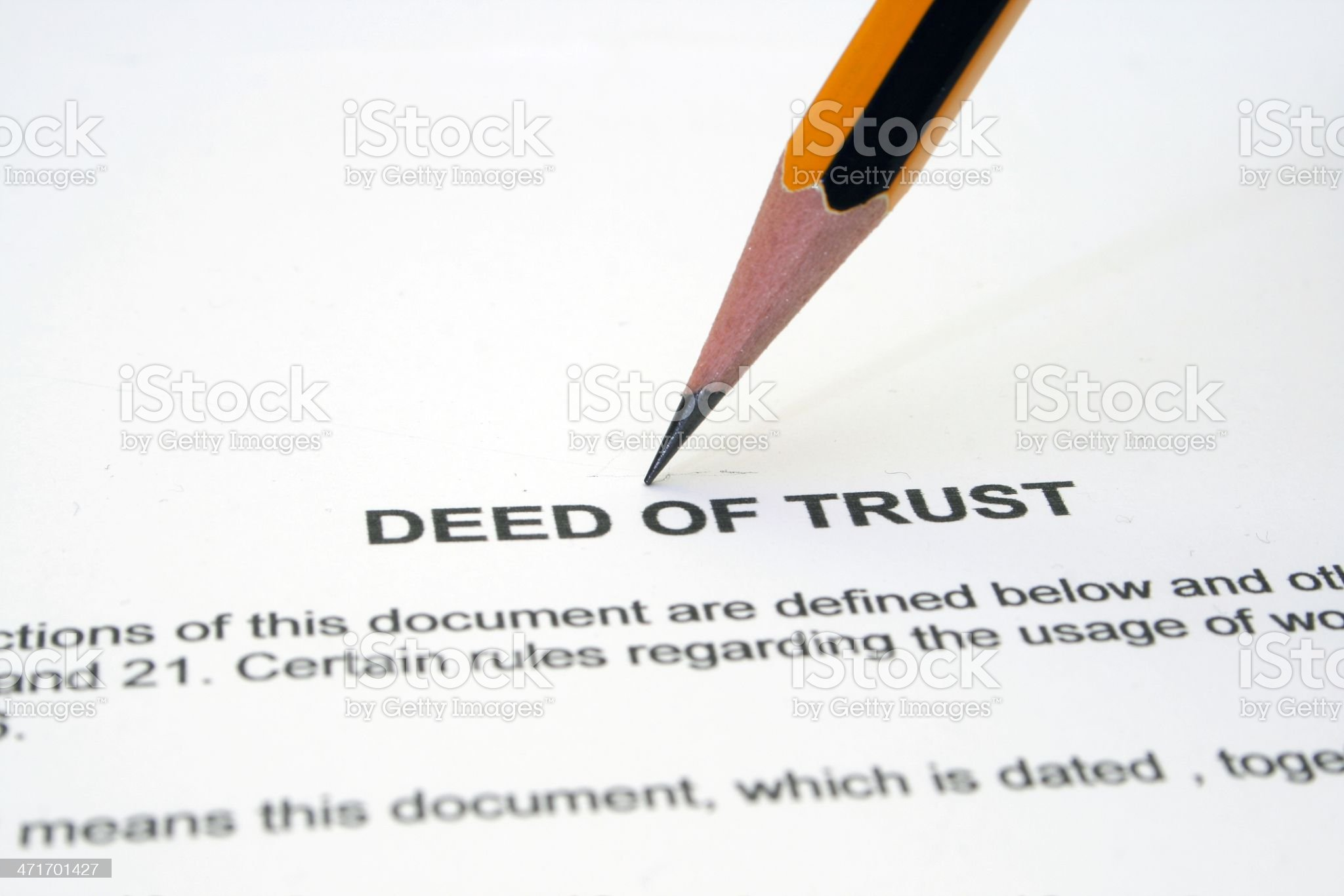 Deed of trust royalty-free stock photo