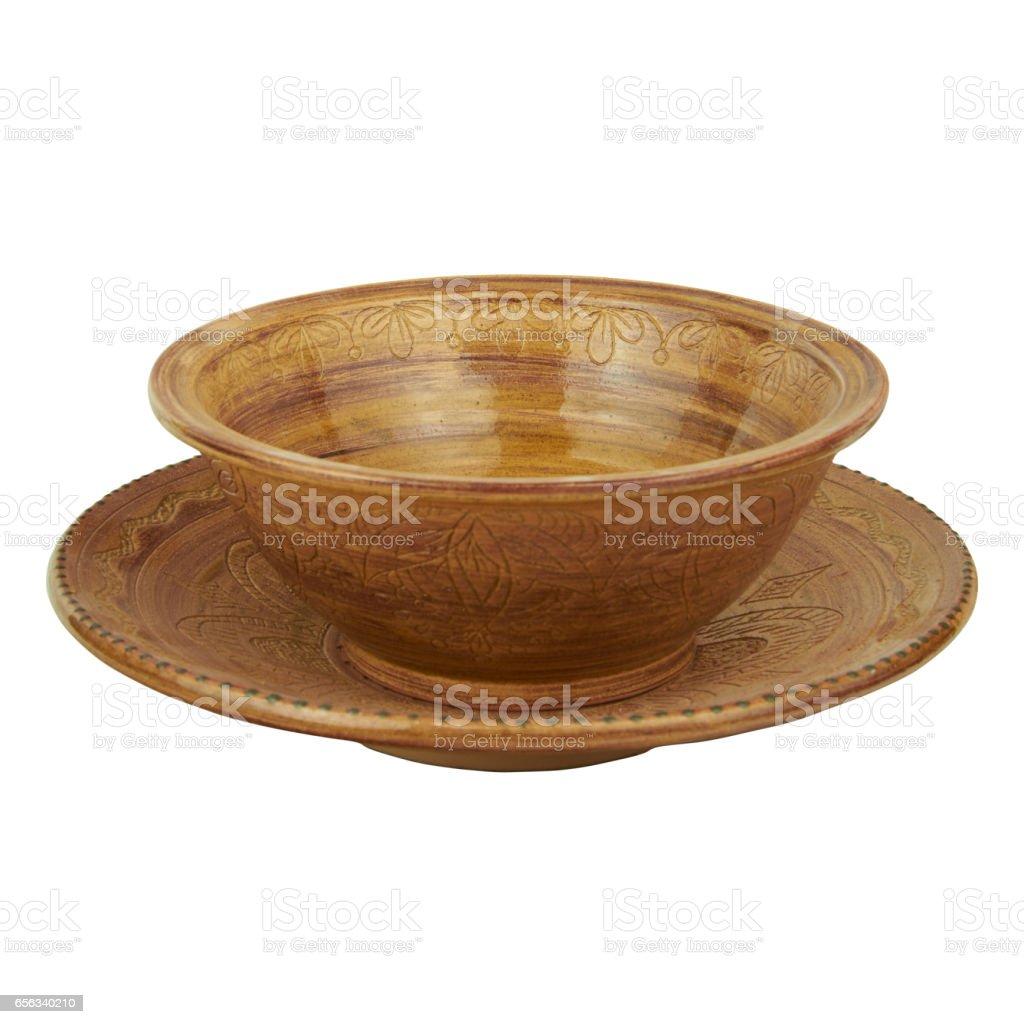 Deep and shallow ceramic dish monochrome handmade clay stock photo