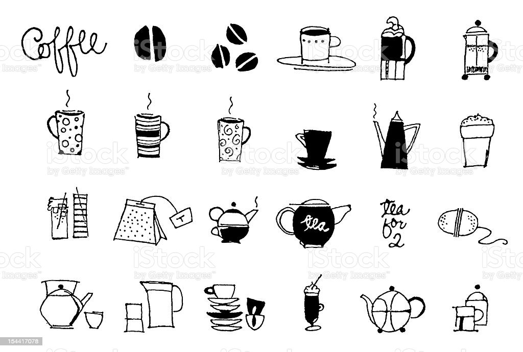 Deep Black Series | drink and coffe icons stock photo