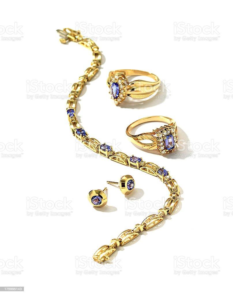 Deep  Blue Bracelet, Rings and Earrings stock photo