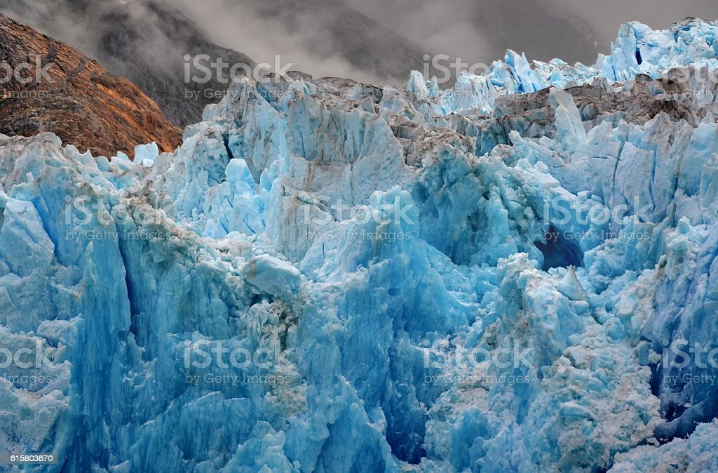 Deep Blue Color of the South Sawyer Glacier stock photo
