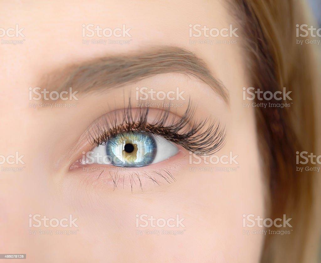 deep blue eye, macro stock photo