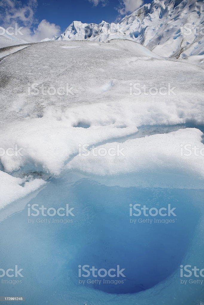 Deep blue hole on ice royalty-free stock photo