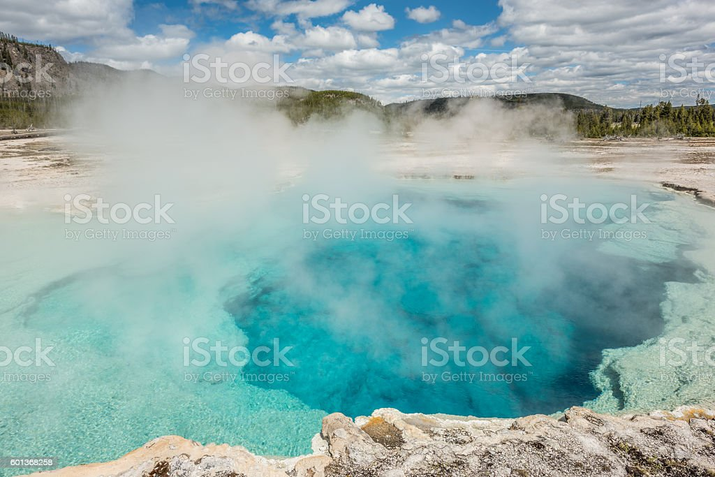Deep blue Sapphire pool in biscuit basin stock photo