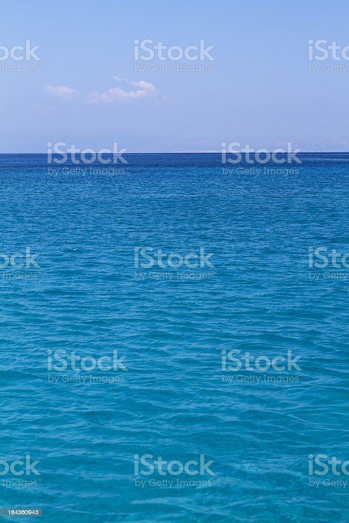 Deep blue sea horizon stock photo