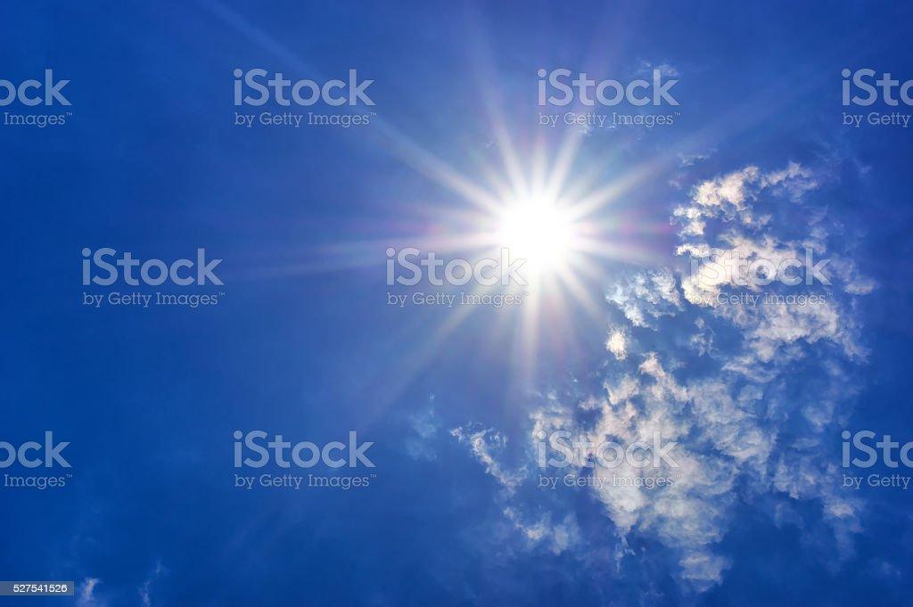Deep blue sky at sunny day. stock photo