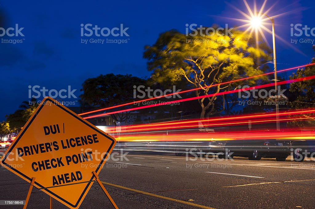 Deep blue sky dui checkpoint royalty-free stock photo