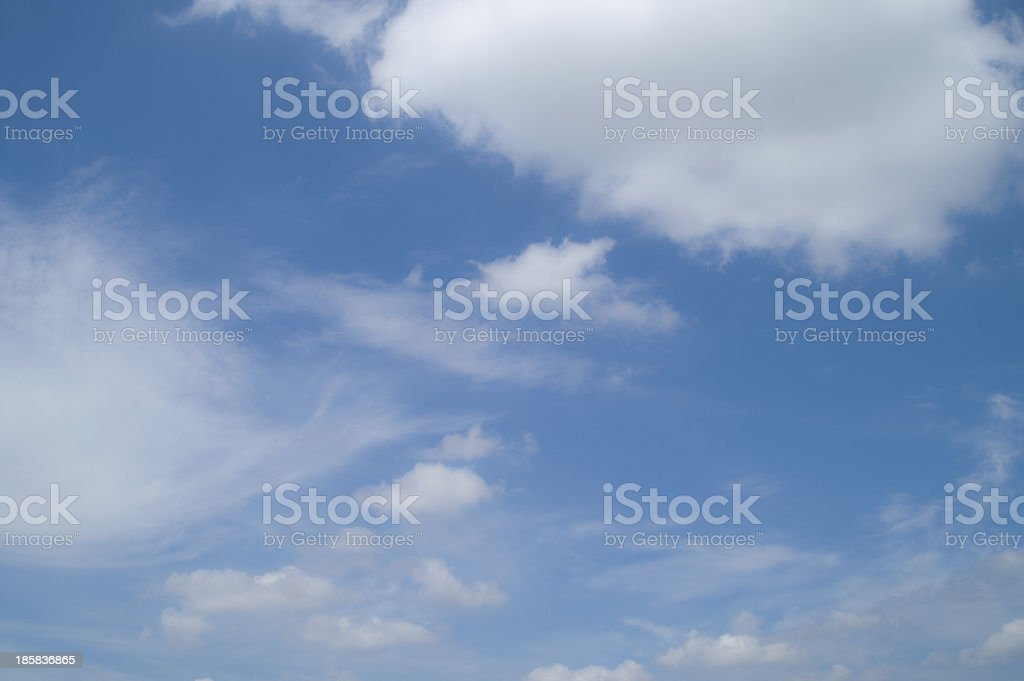 Deep blue sky with white clouds royalty-free stock photo