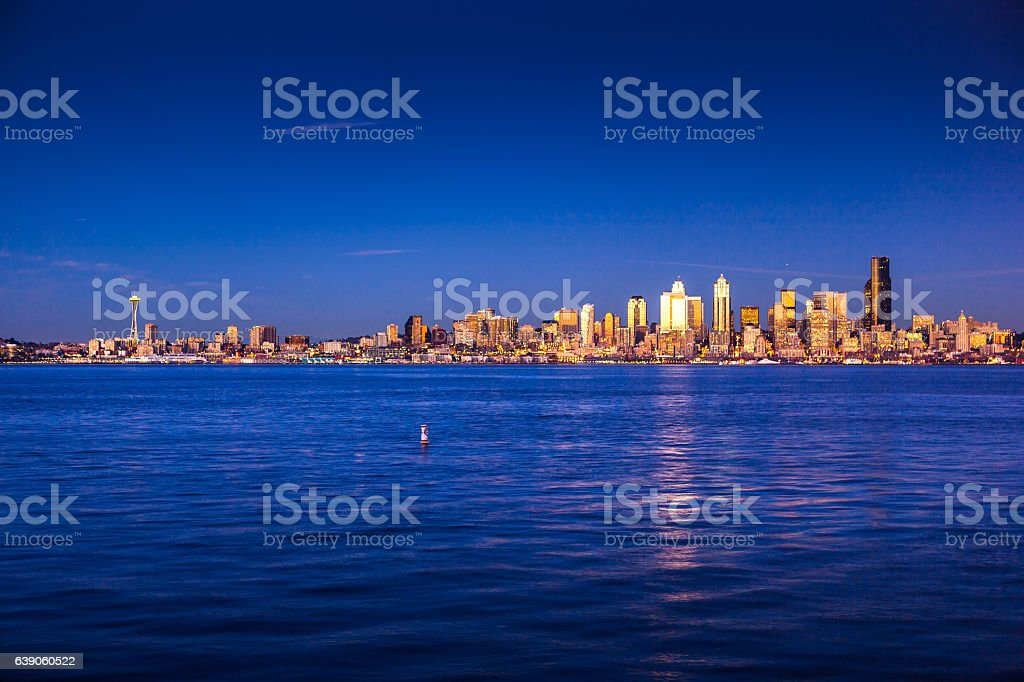 Deep Blue Sunset in Seattle stock photo