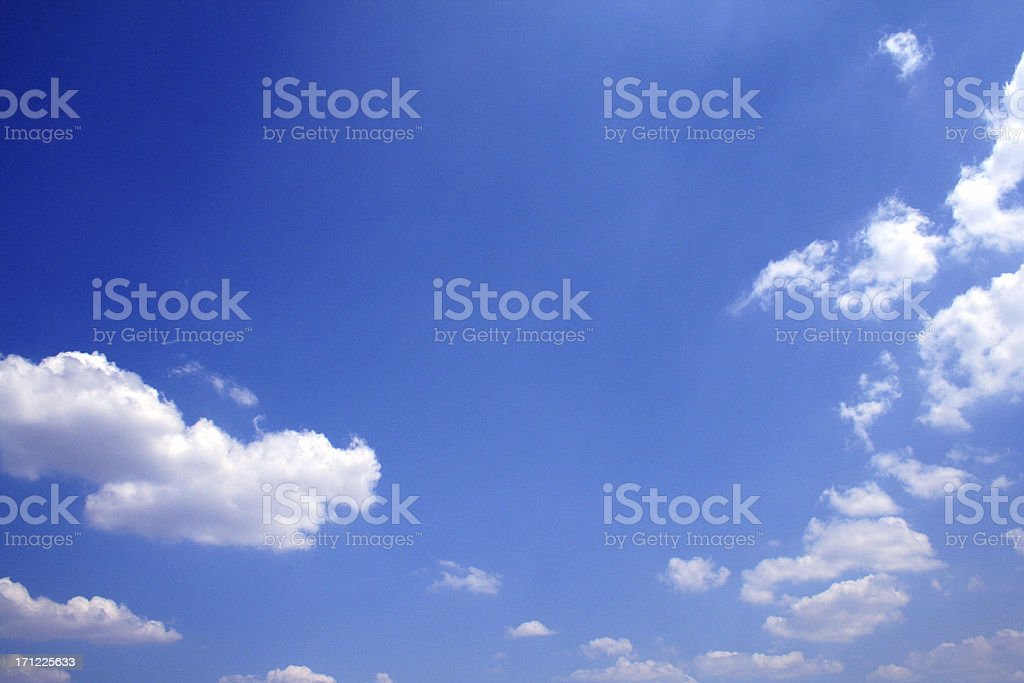 Deep blue view on a lightly clouded day stock photo