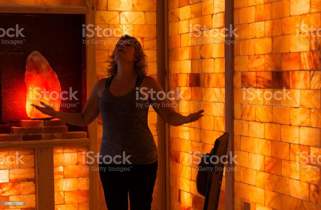 Deep breaths inhaling salt particles stock photo