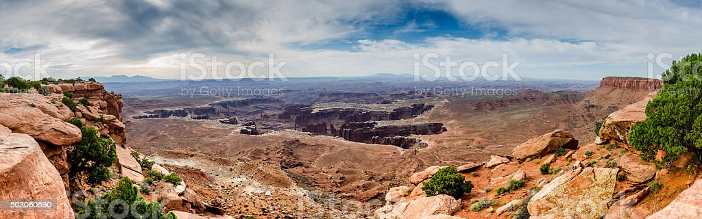 Deep Canyon Panorama in Islands in the Sky stock photo