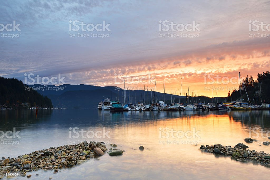 Deep Cove cloudy sunrise, North Vancouver stock photo