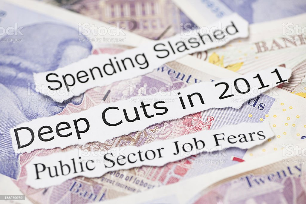 Deep cuts and spending slashed headline topics royalty-free stock photo