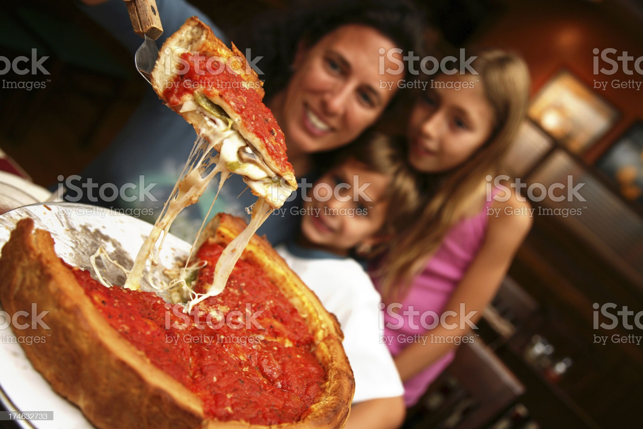 Deep Dish Family Style Chicago Pizza royalty-free stock photo