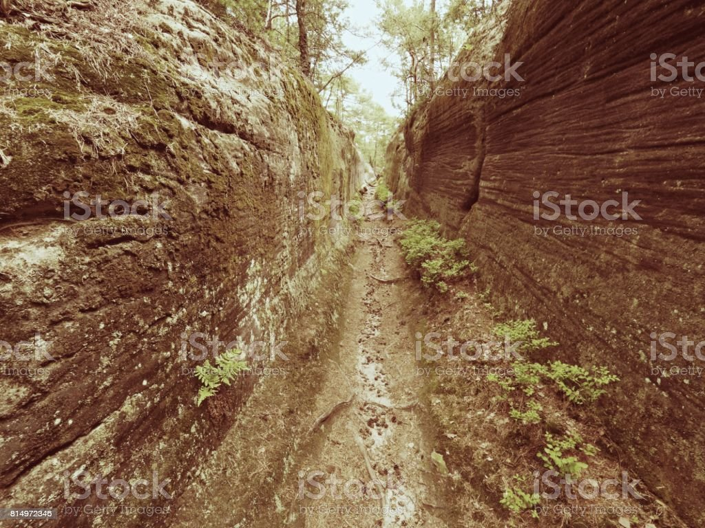 Deep entrance path in sandstone block. Historical path through forest stock photo