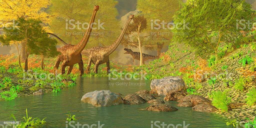 Deep Forest Dinosaurs stock photo