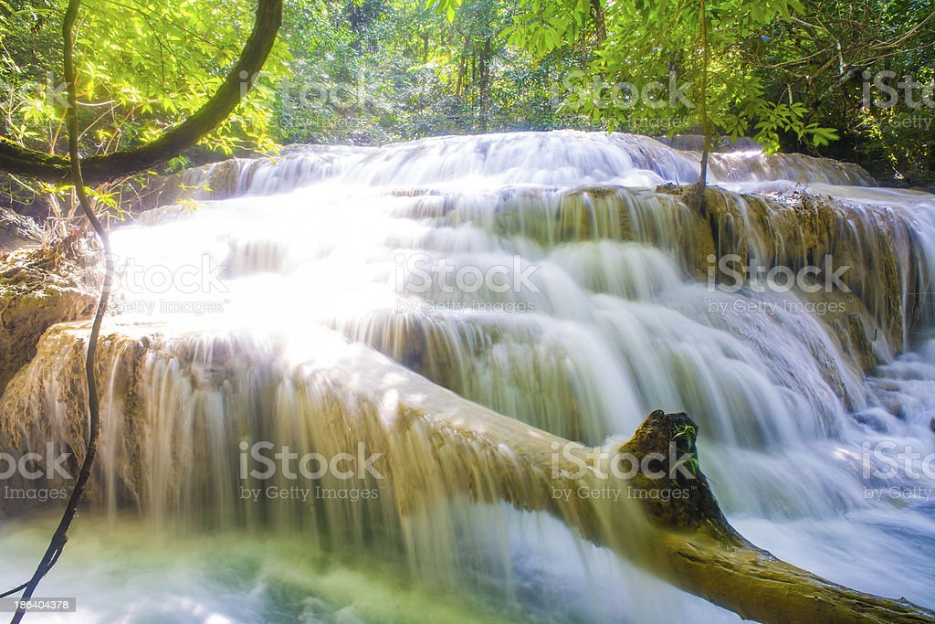 Deep forest waterfall at Erawan royalty-free stock photo