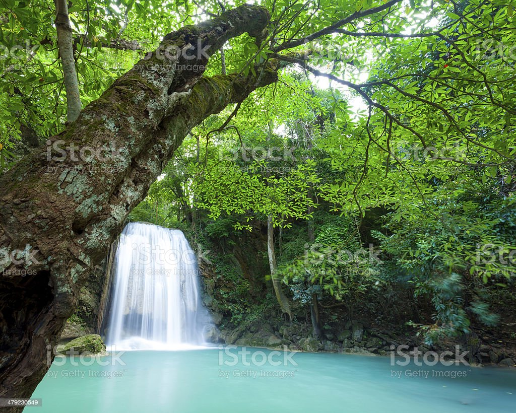 Deep forest waterfall at Erawan waterfall National Park stock photo