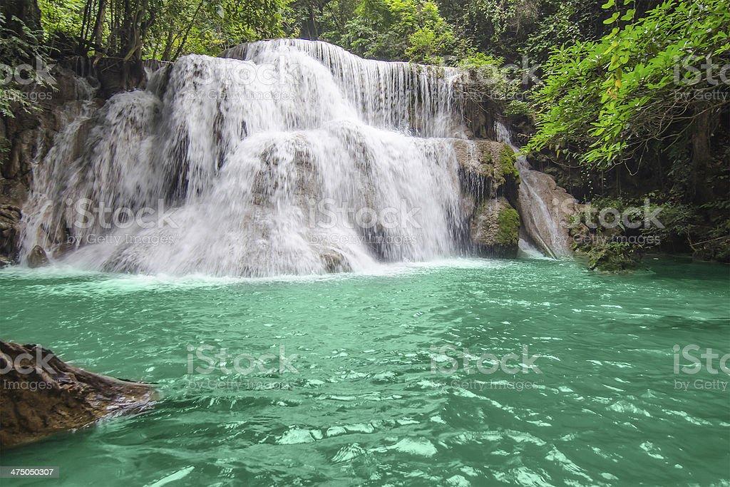 Deep forest Waterfall in Kanchanaburi royalty-free stock photo