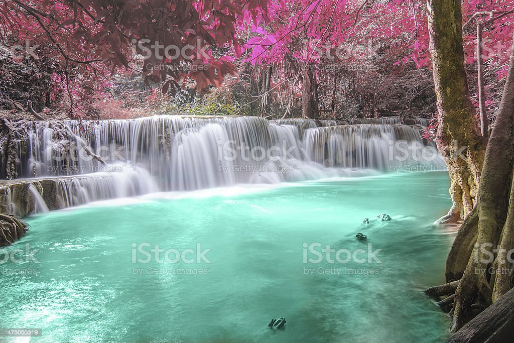 Deep forest Waterfall in Kanchanaburi royalty-free stock photo