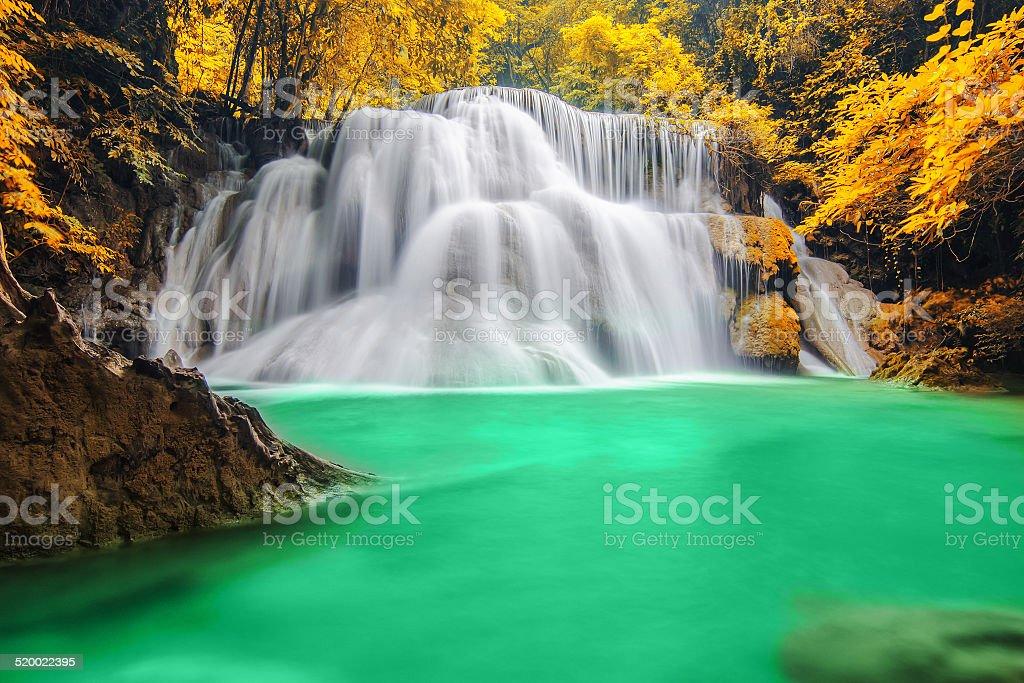 Deep forest Waterfall in Kanchanaburi stock photo