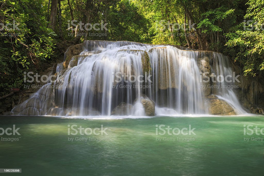 Deep forest Waterfall in Kanchanaburi, Thailand royalty-free stock photo