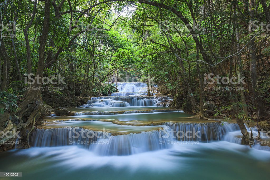 Deep forest Waterfall in Kanchanaburi, Thailand royalty-free stock photo
