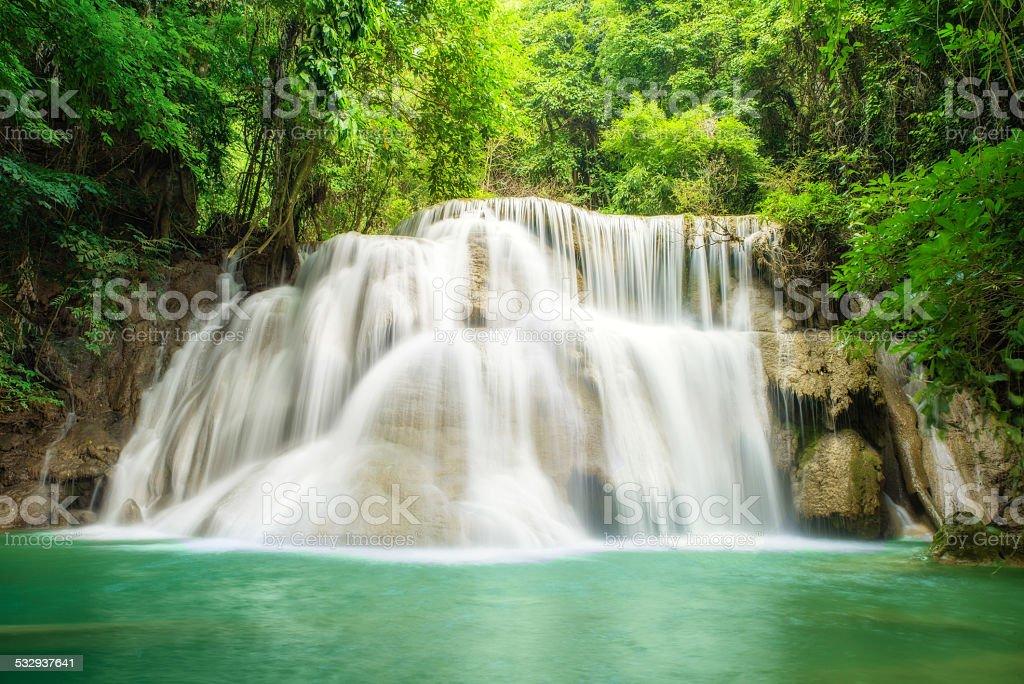 Deep forest Waterfall in Kanchanaburi,Thailand stock photo
