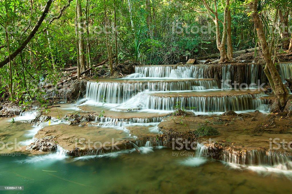 Deep forest Waterfall, Kanchanaburi, Thailand royalty-free stock photo
