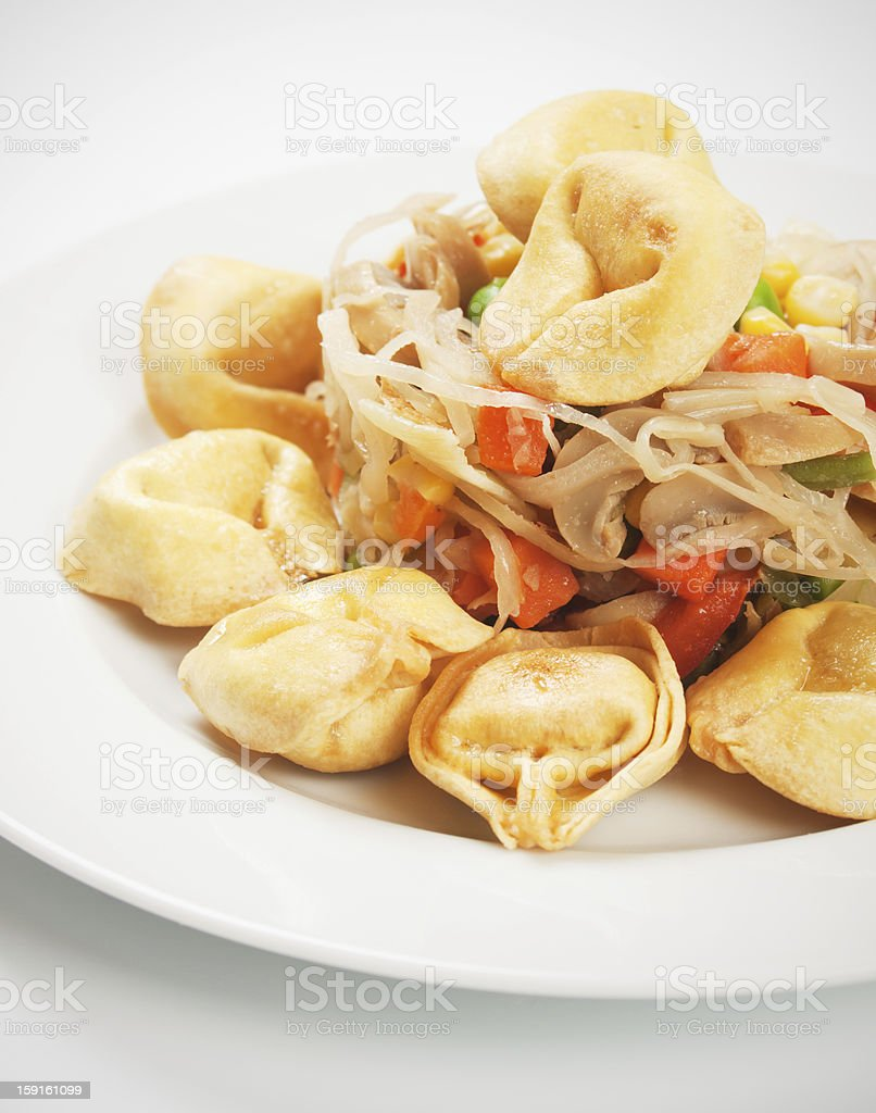 Deep fried asian noodles with vegetables royalty-free stock photo