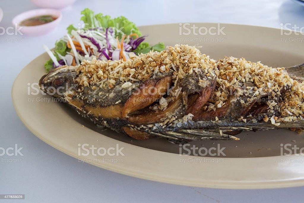 Deep fried bass royalty-free stock photo