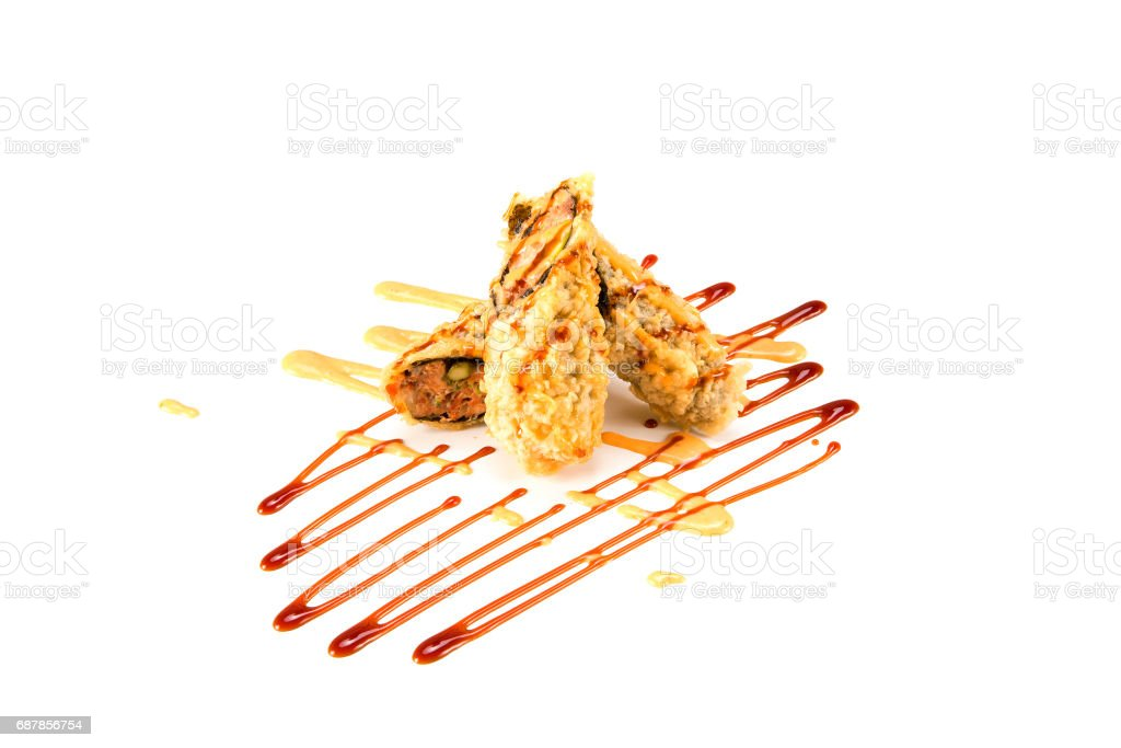 deep fried BC roll on white stock photo