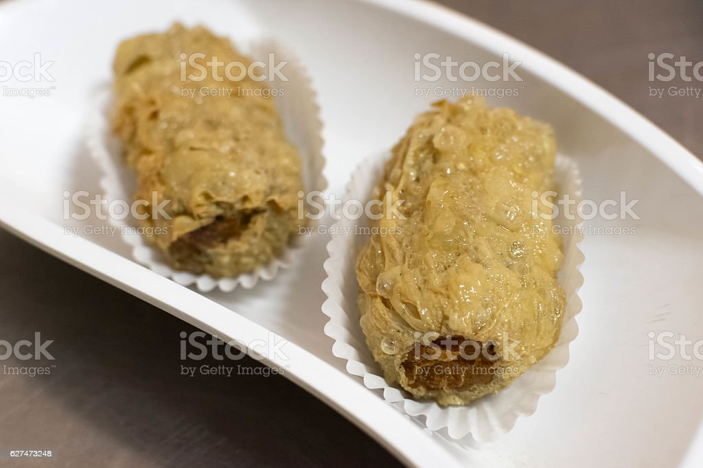 Deep Fried Crab Meat Roll stock photo