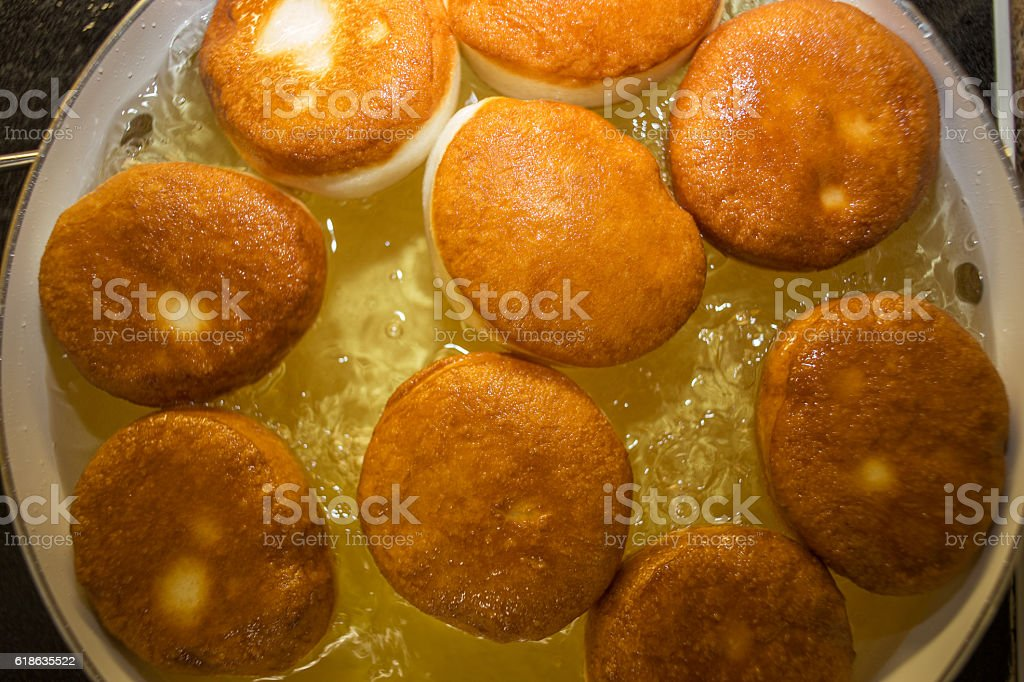 Deep fried donuts stock photo