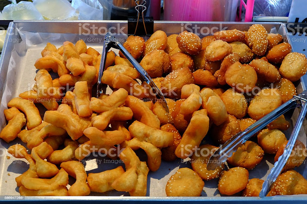 Deep fried dough sticks ,breakfast thai style. stock photo