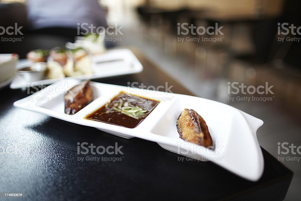 Deep fried eggplants with hoisin sauce royalty-free stock photo