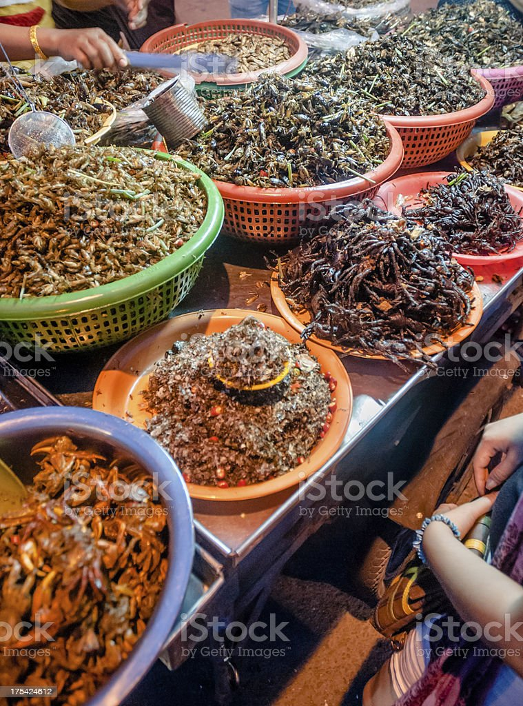 Deep Fried Insects And Bugs For Sale In Southeast Asia royalty-free stock photo