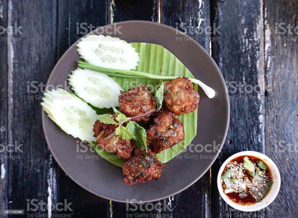 Deep fried minced spicy pork stock photo