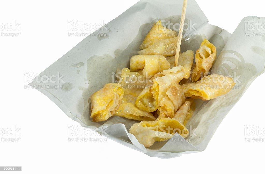 Deep fried of Crispy Roti with condensed milk stock photo