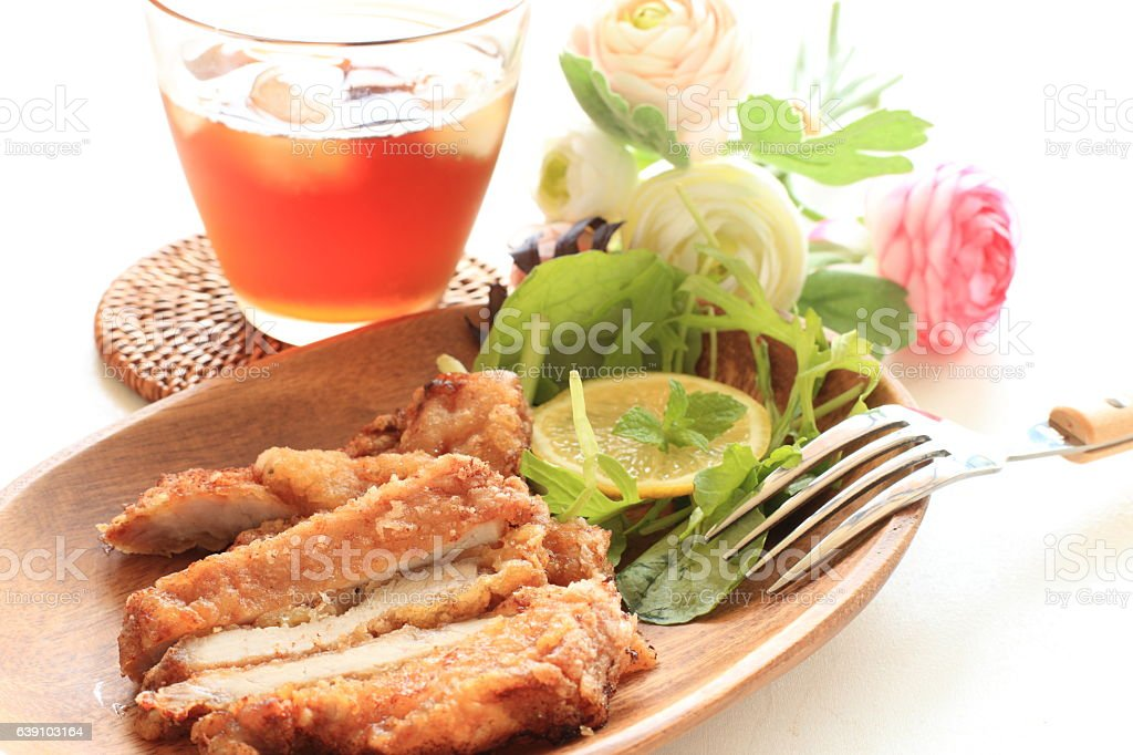 deep fried pork stock photo