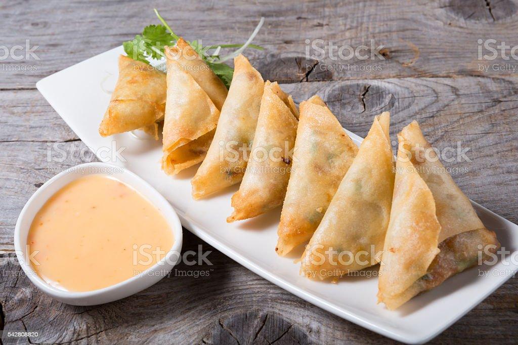 Deep fried samosas stock photo
