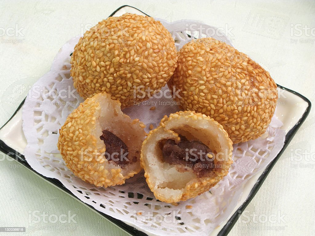 Deep fried sesame sticky rice ball with lotus seed paste stock photo
