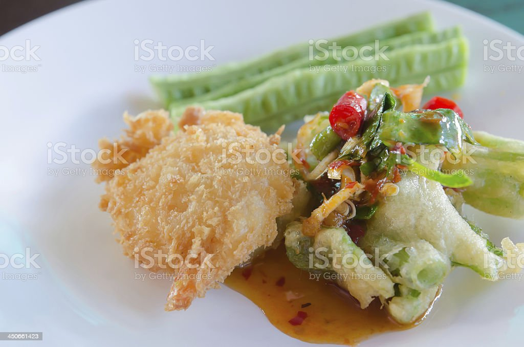 deep fried shrimp and chili sauce royalty-free stock photo