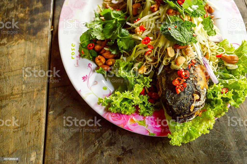 Deep Fried Snakehead Fish with Herb stock photo