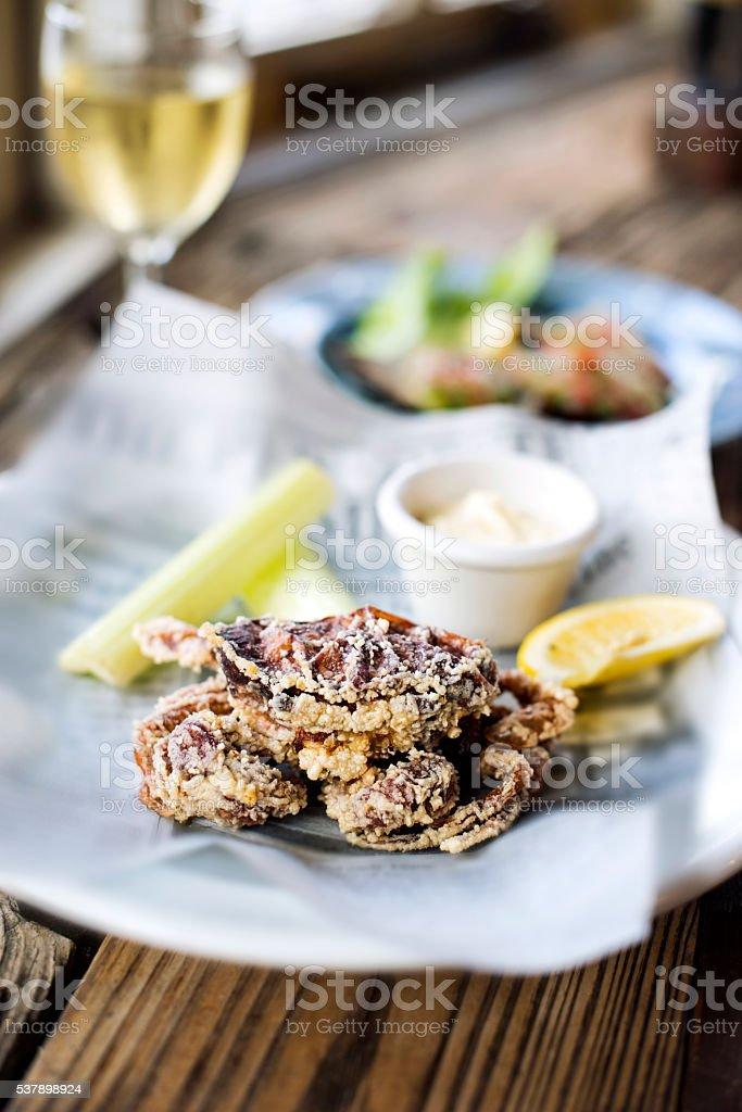 Deep Fried Softshell Crab stock photo