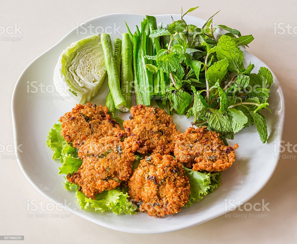 Deep fried spicy minced pork stock photo